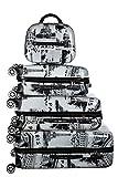 Birendy Reisekoffer Polycarbonat Hartschalen Hardcase Trolley mit Zahlenschloss Koffer Kofferset 4 Rollen einfacher Transport (A2-Paris schwarz weiß, Set M+L+XL+XXL)