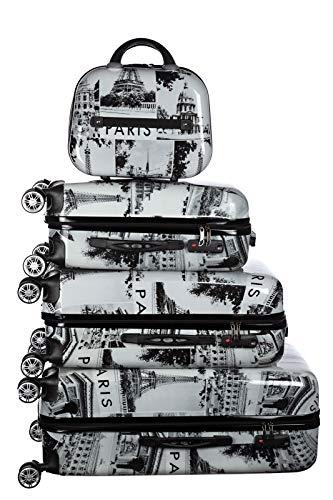 Birendy Reisekoffer Polycarbonat Hartschalen Hardcase Trolley mit Zahlenschloss Koffer Kofferset 4 Rollen einfacher Transport (A2-Paris schwarz weiß, Set...