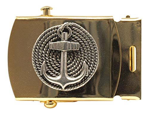 Military Style Web Belt Buckle, Solid Brass with Coiled Anchor Pewter Motif, 1-1/4'