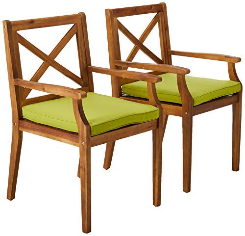 Christopher Knight Home 304683 Peter | Outdoor Acacia Wood Dining Chair Set of 2, Teak/Green Cushion