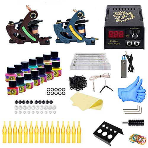 professional Set of tattoos, Tattoo Acc for beginners, complete set of tattoos 2 pistols, digital power supply 14 ink 20 …