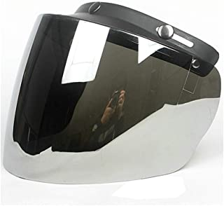 Wancar Retro Universal Standard 3-Snap Open Face Motorcycle Helmets Flip Up Face Visor Wind Shield Lens(Mirrored)
