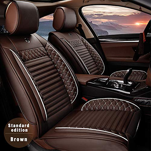 ALLYARD Car Seat Covers for BMW 1,2,3,4,5,6,7 Series,X1,X2,X3,X4,X5,X6 5 Seat Custom PU Leather Front Rear Seat Pad Protector All Season Protetion Full Set Easy Install(Airbag Compatible) Coffee