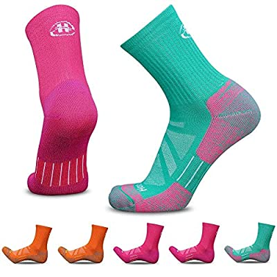 Heatuff Women's 5 Pack Hiking Micro Crew Socks Performance Athletic Wicking Cushion Outdoor Trekking Sock with Reinforced Heel and Toe
