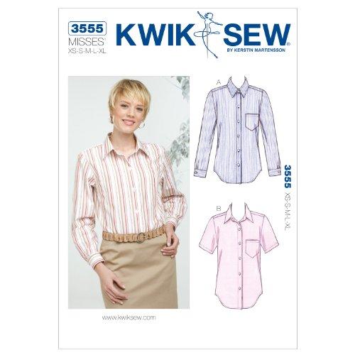 Kwik Sew K3555 Shirts Sewing Pattern, Size XS-S-M-L-XL