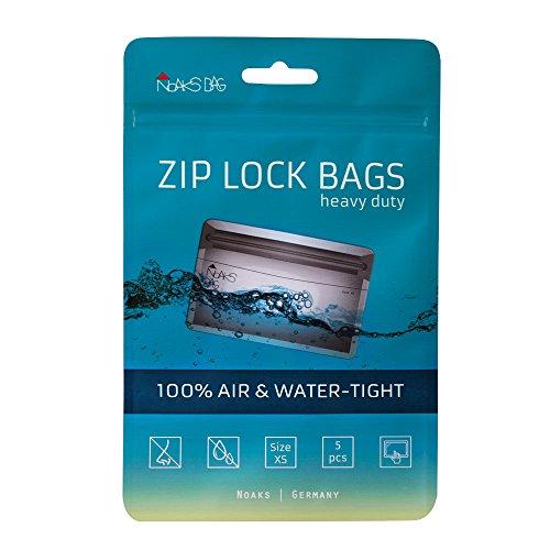 Noaks Bag XS | 5 Piezas | Bolsa Seca - Embalaje Protector Impermeable - Bolsas con Cierre Zip | 100% Impermeable hasta 10 m - protección contra olores - hermético