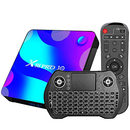Android 11.0 tv Box, [2G RAM+ 16G ROM] RK 3318 Android TV Box mit Dual 2.4G/5.8G WiFi, BT 5.0 Quad-Core 64 Bits UHD H.265 Ethernet LAN 3D 4K TV Box mit hintergrundbeleuchtete Tastatur Set Top TV Box