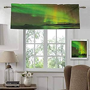 Kitchen Window Valance Aurora Borealis Half Window Decoration Blackout Window Shades Magical Enchanted Universe Sky with Reflections Tranquil Scenery for Kitchen Fully Stitched and Hemmed