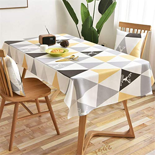 HTUO Rectangular Waterproof Table Cloth Christmas Decoration Table Cover Triangle Geometric Table Cloth Coffee Table Round Table Cloth Dining Table Living Room 135 * 135 Cm