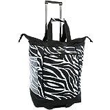 Pacific Coast Signature Large Rolling Shopper Tote Bag, Zebra, One Size