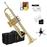 Libretto Gold Lacquer Bb Trumpet Set, Rose Brass Leadpipe, Standard for Beginner & Intermediate Students, Stainless Valve, 7C Mouthpiece, Durable Case, Portable Stand & Maintenance Kit w/Instructions