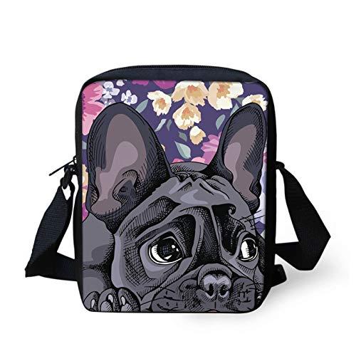 Howilath Funny Floral French Bulldog Print Mini Messenger Adjustable Starp Shoulder Satchel Handbags Cell Phone Pouch