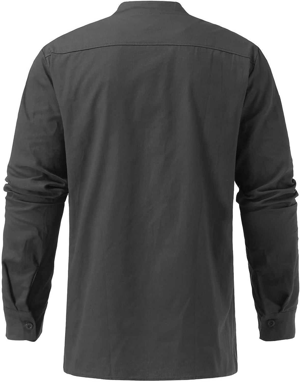FUNEY Mens Long Sleeve Henley Shirts V Neck Solid Color Drawstring Tshirt Fashion Casual Loose Fit Cotton Beach Shirts