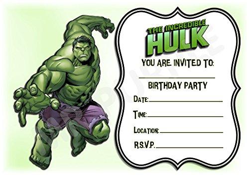 Superhero De Hulk Verjaardagsfeestjes Uitnodigingen - Portret Streep Ontwerp - Feestbenodigdheden/Accessoires (Pak van 12 A5 Uitnodigingen) WITHOUT Envelopes