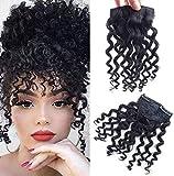Extensiones de pelo rizado de 8 pulgadas con clip en Jerry 23 g afro mullido clip en la parte superior 100% cabello humano Fringe piezas de pelo natural negro