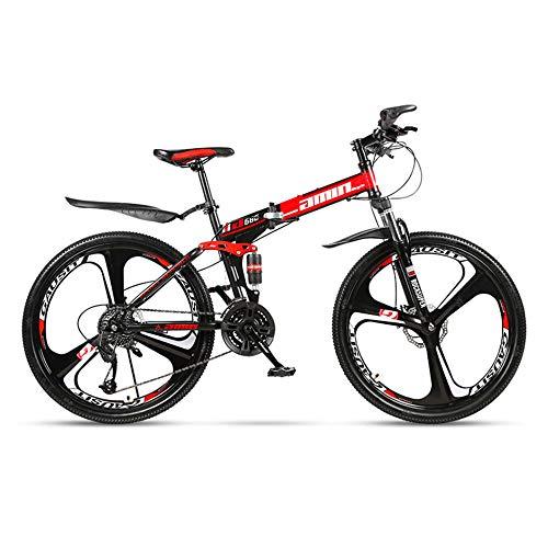 HWZADQOMWN Klappräder Mountainbike Herren Damen Klapprad Faltrad Fahrrad Dreirad für Erwachsene, Dreirad, Klapprahmen Liegeräder 21 Geschwindigkeit-26 Zoll,Schwarz Rot