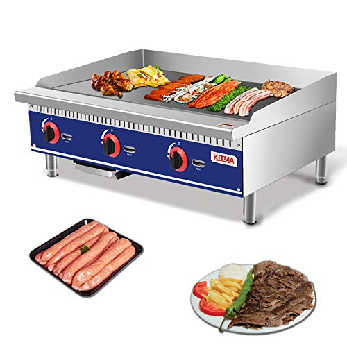KITMA Commercial Natural Gas Griddle Flat Top Grill HotPlate Kitchen Countertop Grill, Stainless Steel Restaurant Large Grill for Kitchen BBQ, 90000BTU Commercial Ranges