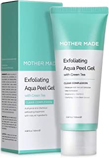 MOTHER MADE Exfoliating Aqua Face Peel Gel with Green Tea, Vitamin C, Natural Cellulose, Willow Bark Extract, 3.38 fl. oz, Facial Exfoliator for Peeling, Brightening, Clear Complexion