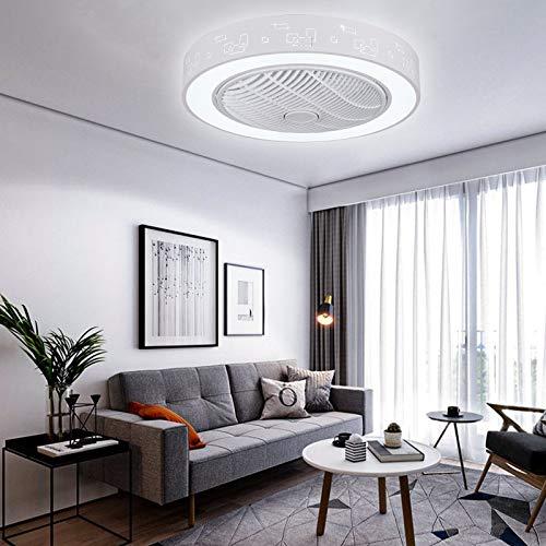 Ventilador de techo con iluminación y mando a distancia, LED, regulable, ultra silencioso, oscilación del viento invisible