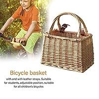 自転車バスケット、耐水取り外し可能な自転車ハンドルバー収納バスケット、少年少女バイク用レザーストラップ付きウィッカーフロントハンドルバークレート、アウトドアバイクアクセサリー