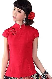 Shanghai Story Women's Linen-Cotton Blend Cap-Sleeve Oriental Blouse