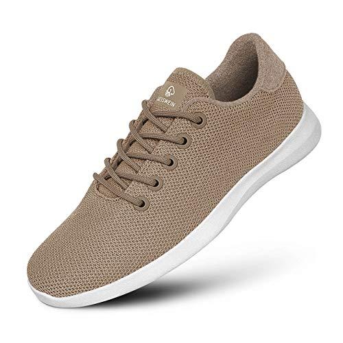 GIESSWEIN Merino Wool Knit Women – Zapatillas transpirables para mujer de 100% lana de merino, zapatillas deportivas descalzo para mujer, zapatos de ocio, zapatos para mujer, color Beige, talla 40 EU