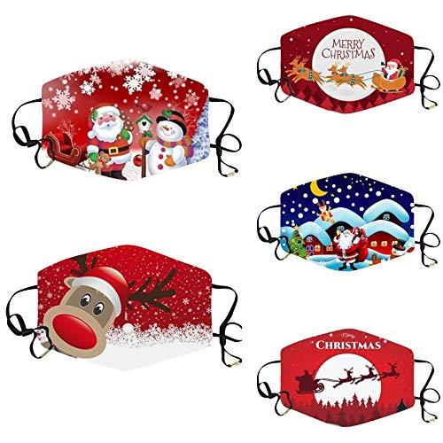 Daringjourney 5 Stück Cartoon Motiv Mund und Nasenschutz Halstuch,Erwachsene Waschbare Mundbedeckung Bandanas,Mehrweg Atmungsaktiv Mundschutz Tuch, Staubdichte Multifunktionstuch,Weihnachts