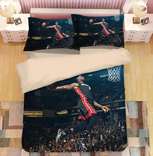 Bedding 3D Printed Jordan Three Sets of Autumn And Winter Korean Cotton Printing Sheets Three-Piece Set Digital Printed Quilt Cover,G,UK_ Superking