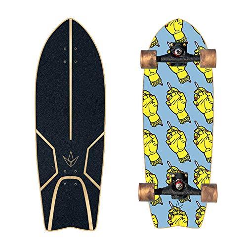 """Monopatín 29"""" X9.5"""", Carver Tabla De Surf Pro, Bombeado Tierra Tabla De Surf, Calle Urbana Land Cruiser Completa De Longboard, Ideal para Adultos, Adolescentes, Principiantes,No.9"""