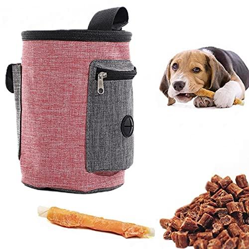 Elehui Borsa Addestramento Cane Sacchetto di Allenamento Snack Borsa per Cani Borsa per Il Cibo per Cani Animali Multifunzionale Snack per Addestramento del Cane Viaggio All'Aperto (Rosso)