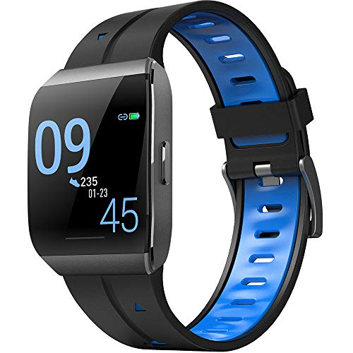 YAONING Fitnesstracker, bluetooth smartwatch, HD Big Screen, hartslagfrequentie, slaapbewaking, waterdichte sportarmband, geschikt voor Android iOS B
