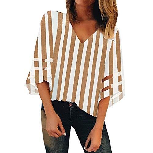 Shinehua blouse dames sexy V-hals 3/4 belmouwen T-shirt top elegant chiffon blouse zomer casual lose tops korte mouwen blousenshirts bovenkant Large bruin