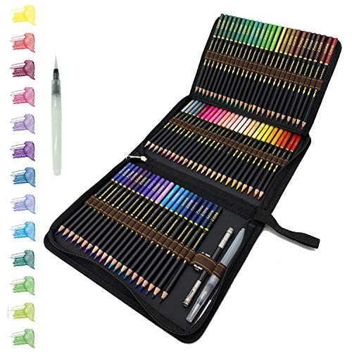 ZZWOND 72 Professional Watercolor Pencils Set with Premium Black Zipper Case for Adults or Kids, Ideal for Coloring, Blending and Layering, Watercolor Techniques
