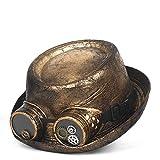 Nstqlzh Gold Porkpie Leder Steampunk Hut for Männer Fedora-Hut-Gang Brille Flat Top-Hut for Gentleman Bowler Gambler Cosplay Hat` (Color : Gold, Size : 59-60 cm)
