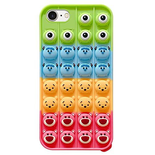 Fidget Toys Phone Case,Pop Fidget Phone Case,Stressspielzeug Bubble Phone Case,Pop Bubble Sensory Toy Phone Case,Niedlich 3D handyhülle Cartoon Monster Silikon Schutzhülle für iPhone 6/6S/7/8/SE2020