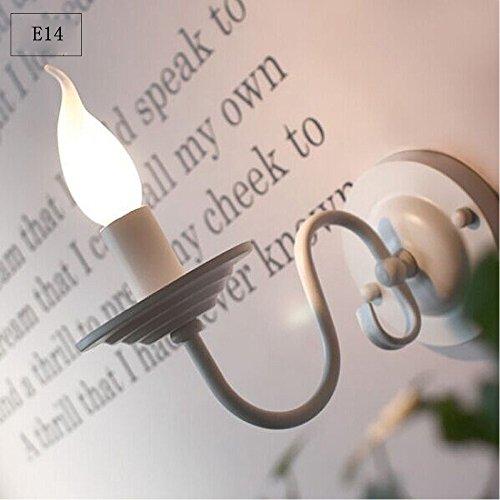 Retro E14 Wandleuchte Klassisch Eisen Wandlampe Kerzen Form Deckenbeleuchtung für Wohnzimmer Schlafzimmer Restaurant Schneise Korridor (Weiß)