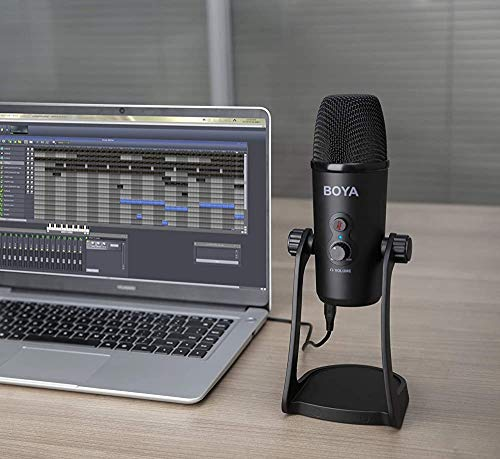 (Renewed) Boya BY-PM700 USB Computer Microphone for Vlog Conference Live, Condenser Microphone with Flexible Polar Pattern for Windows and Mac Tablet Recording Interview Vlog Game Podcast and Youtube