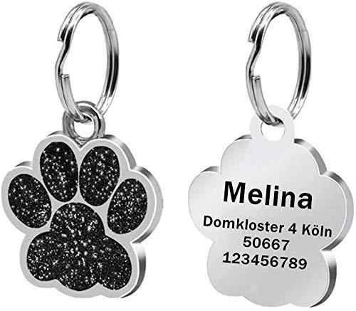 LAOKEAI Personalisierter Hundemarke mit Gravur aus Legierung, Haustier ID Tag mit Namen, Adresse und Telefonnummer Prickelnde Haustier Marke für Hunde und Katzen inkl. Schlüsselring(Schwarz)