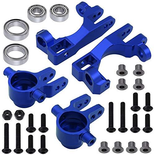 Hobbypark Aluminum Caster Blocks (c-hubs) & Steering Blocks for 1/10 Traxxas Slash 4x4,Upgrade Replacement of 6832 6837 Hop Ups (Navy Blue)