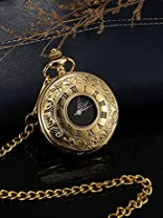 Vintage Pocket Watch Steel Men Watch with Chain (Gold) #3