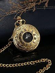 Vintage Pocket Watch Steel Men Watch with Chain (Gold) #3