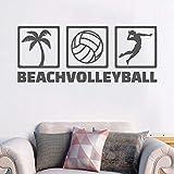 AGjDF Ícono de Voleibol de Playa Etiqueta de la Pared Etiqueta de Deporte de Voleibol Decoración de la habitación del niño57x23cm