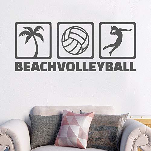 Ícono de Voleibol de Playa Etiqueta de la Pared Etiqueta de Deporte de Voleibol Decoración de la habitación del niño57x23cm