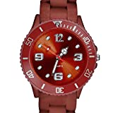 Taffstyle Farbige Sportuhr Armbanduhr Silikon Sport Watch Damen Herren Kinder Analog Quarz Uhr 39mm Braun
