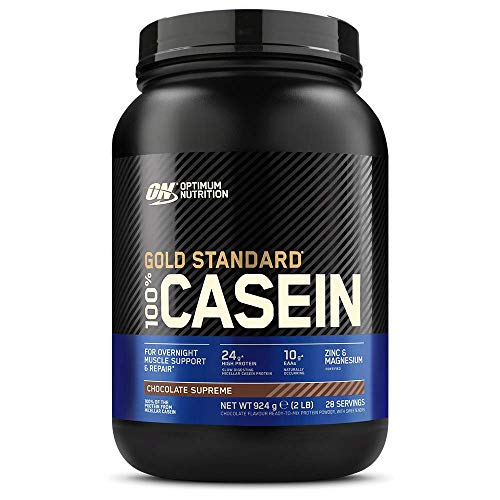 Optimum Nutrition Gold Standard Casein Slow Digesting Protein Powder with Zinc, Magnesium and Naturally Occurring Glutamine and Amino Acids, Chocolate Supreme, 28 Servings, 0.9 kg, Packaging May Vary
