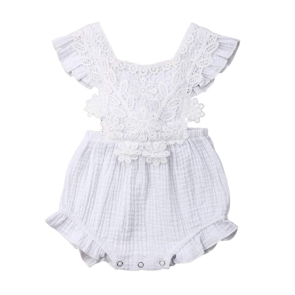 Newborn Infant Floral Ruffle Romper Jumpsuit Playsuit Outfits Fineday 0-24 Months Baby Romper Clearancesales!!