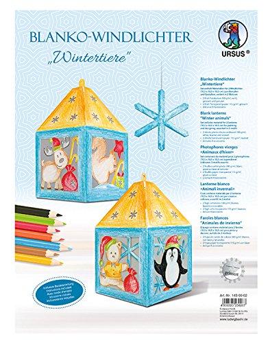 Ursus 1430002 - Windlichter blanco, Wintertiere, hochweiß, ca. 10,5 x 18,5 x 10,5 cm, 2 Stück, gelasert und genutet, aus Fotokarton, mit Bastelanleitung, für Jungen und Mädchen, ideal als Tischdeko