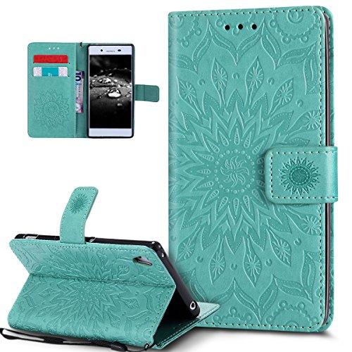 Kompatibel mit Schutzhülle Sony Xperia Z4/Z3+/Z3 Plus Hülle Handyhülle Tasche Hülle,Prägung Mandala Blumen Sonnenblume PU Lederhülle Flip Hülle Ständer Wallet Tasche Hülle Schutzhülle,Grün