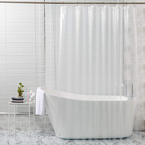 AmazerBath Plastic Shower Curtain, 72 x 72 Inches EVA 8G Shower Curtain with Heavy Duty Clear Stones and 12 Grommet Holes Thick Bathroom Plastic Shower Curtains-Clear