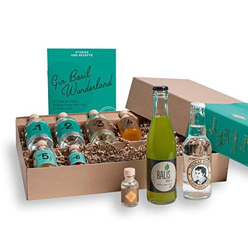 Gin Cocktail Geschenk-Set für 6 exzellente Basilikum Gin & Tonic und Gin Sour Variationen | Tastingset mit BIRDS DRY GIN